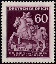 1943 Horse and Postman Bohemia and Moravia Postage Stamp Catalog 84 MNH