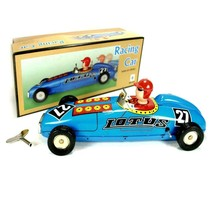 TIN TOY RACE CAR Wind Up Blue Mechanical Lotus Racing Collectable NEW MS641 - $28.95