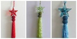 "Christmas Bead Ornaments Star Tassel Red Green Blue  7.5"" Long  - $3.99"