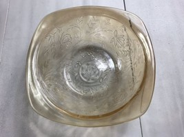 Marigold Carnival Glass Berry Bowl Floral Pattern - $14.99