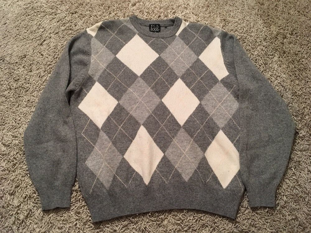 Primary image for Jos A. Bank Mens Crewneck Lambswool/Nylon Gray Argyle Sweater, Sz M