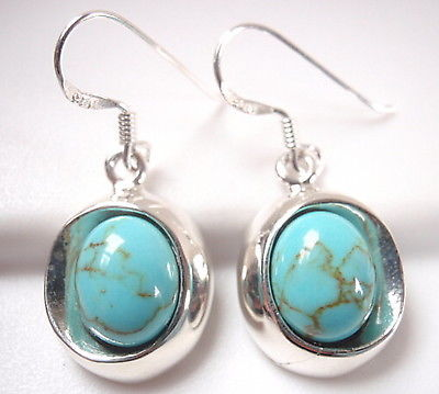 Primary image for Turquoise Oval 925 Sterling Silver Dangle Earrings