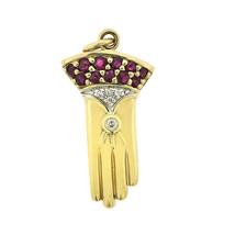 0.45 Carat Ruby & 0.07 Carat Diamond Glove Vintage Pendant 14K Yellow Gold - $325.71