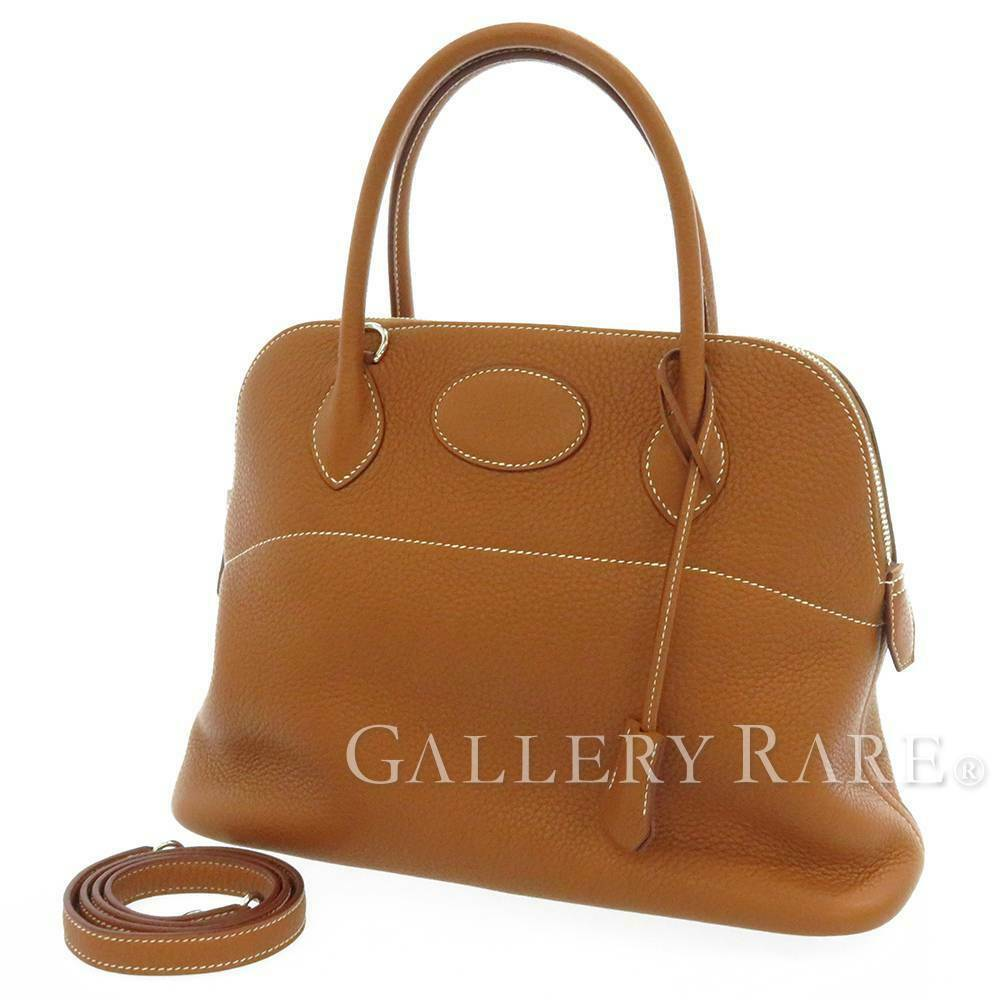 HERMES Bolide 31 Taurillon Clemence Gold 2Way Handbag Shoulder Bag #T Authentic