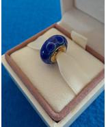 NEW Blue Lotus Flower Murano Glass, Yellow Gold Plate, Threaded, Europea... - $29.95