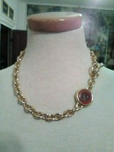 VINTAGE NECKLACE ITALIAN GOLDEN CHAIN REVERSIBLE INTAGLIO AMBER TO BLACK... - $55.00