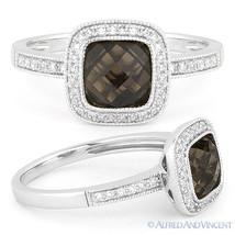 1.54 ct Smoky Topaz Round Cut Diamond Halo Pave Engagement Ring 14k Whit... - £402.61 GBP