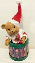 Music Box Christmas Around The World Santa Teddy Bear In Drum Wind Up #... - $19.75