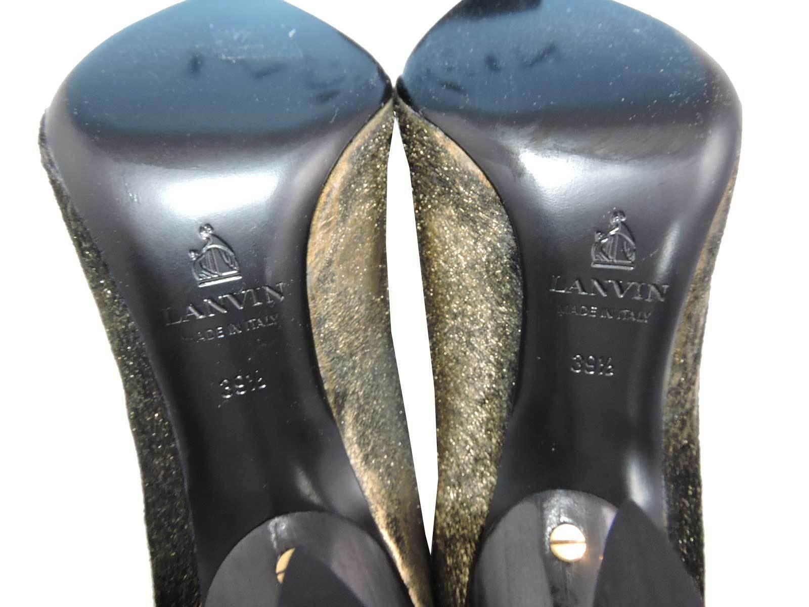 $980 Lanvin Classic Gold Metallic Brushed Calf Hair Pumps Heels Shoes 39.5