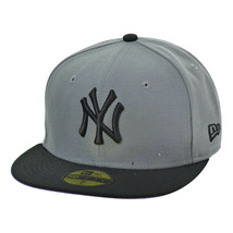 New Era New York Yankees 59Fifty Men's Fitted Hat Cap Grey-Black 10542731 - £28.06 GBP