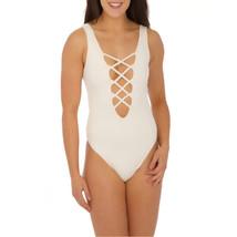 Elizabeth Jane Corset Style One Piece Swimwear White Large - $49.85