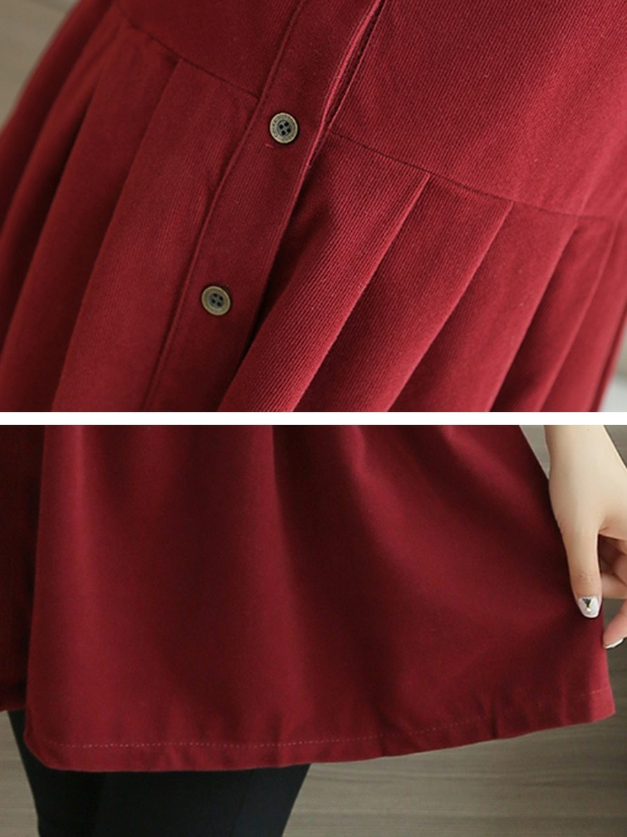 Maternity Dress Solid Color Long Sleeve Shirt Dress image 5
