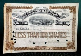 1894 antique PITTSBURGH,ALLEGHENY,MANCHESTER TRACTION CO pa trolley STOC... - $42.50