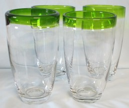 Macy's The Cellar Green Rim Heavy Glass Tumbler set of 4 - $34.54