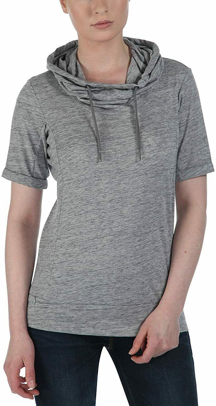 Bench Women's Heather Grey Rollreach Short Sleeve Jumper Hooded Shirt NWT