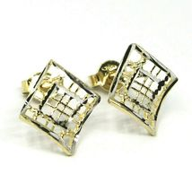 SOLID 18K YELLOW WHITE GOLD EARRINGS, WAVY, 13x12 mm, WORKED RHOMBUS, STRIPED image 3