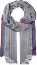 Calvin Klein Women's Stripe-Border Chambray Scarf (Night) - $34.83