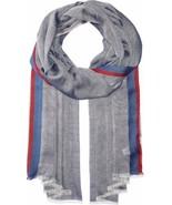 Calvin Klein Women's Stripe-Border Chambray Scarf (Night) - $34.83