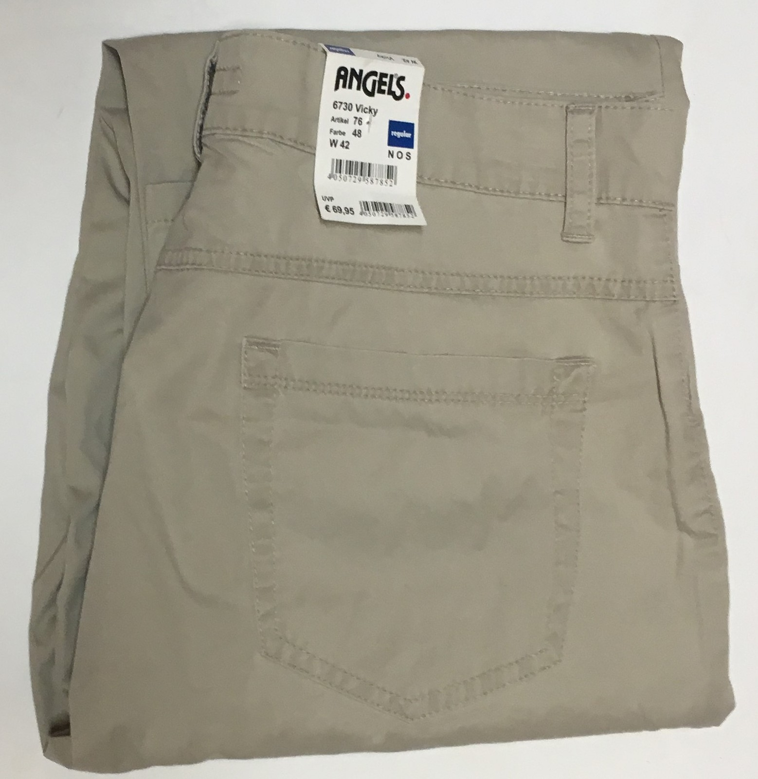 "Angels Jeans Italy Vicky Beige Waist 32"" Inseam 30"" Regular NWT image 6"