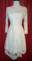 FREE PEOPLE leaf embroidered lace dress eyelash trim off white cream size 8 - $49.00