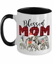 Blessed Mom Christmas Elephants Family funny christmas mug for mom dad father mo - $21.73