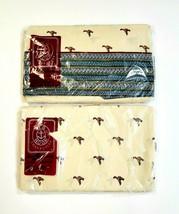 Vintage JG Hook Fieldcrest Twin 2pc Sheet Set Flat Fitted Mallard Duck P... - $44.51