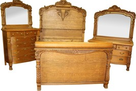 18291 Victorian Horner Style Oak Bedroom Suite - $4,850.00