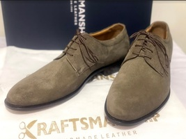 Handmade Men's Brown Suede Dress/Formal Lace Up Oxford Shoes image 2