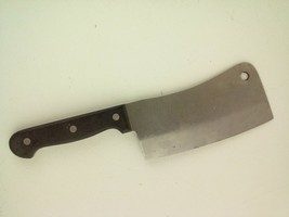 Vintage Cleaver Knife 6.5-Inch Blade Black Handle Japan - $25.91