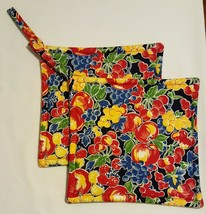 Hand Made Pot Holder Table Cloth Fabric Fruit Grapes Apples Berries - Se... - €9,02 EUR