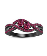 Pink Sapphire Her Infinite Promise Anniversary Ring 14k Black Finish 925... - $78.99