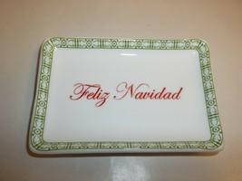 Charter Club FELIZ NAVIDAD Ceramic Tray NEW Christmas Holiday Macys Holi... - $34.65