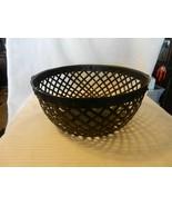 """Black Metal Basket With Handles Open Lattice Design 12"""" Diameter - $55.69"""