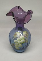 FENTON AMETHYST & BLUE HAND PAINTED RUFFLE VASE GRAPES SIGNED L EVERSON - $44.55