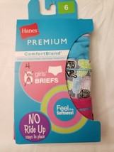 4-Pack Hanes Premium Girls Size 6 ComfortBlend Tagless Briefs Assorted New  - $8.99