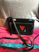 Handbag Fossil Dawson Mini Black Multi Coated Canvas Credit Card Zip X Body - $82.81