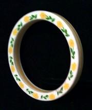 Vintage Lucite Bangle Bracelet White With Flowers - $7.69