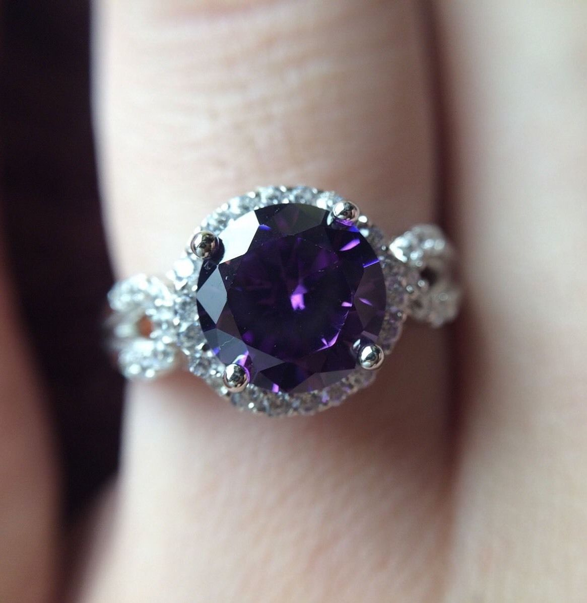 Stunning 2CT Amethyst & White Topaz 925 Sterling Silver Ring Sz 7