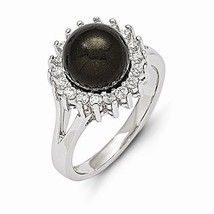 STERLING SILVER MAJESTIK 10 - 11 MM  BLACK SHELL PEARL AND CZ RING  SIZE... - £49.13 GBP
