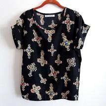 Black Size S Jewel Tone Cross Pattern Top Met Ball Inspired  - $22.23