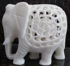 White marble Elephant figurine / statue jali work (6 Inch, White) - $98.01