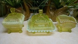 Northwood Vaseline Uranium Canary Glass Alaska Table Set Rare Design Vic... - $280.15