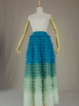 Multi-Color Layered Tulle Skirt High Waisted Tiered Tulle Skirt Outfit image 1