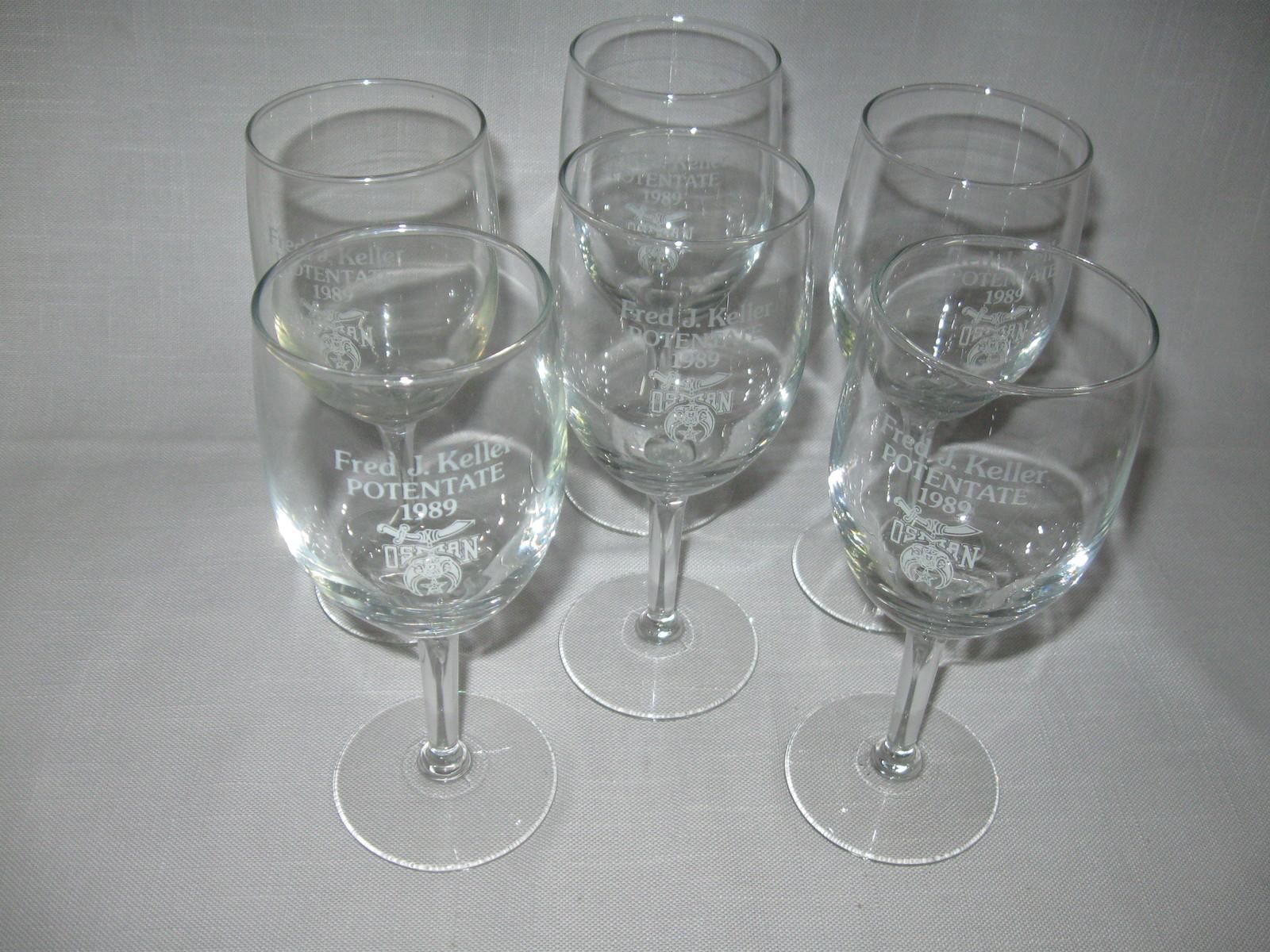 Crystal Clear Stem Wine Goblets Qty 6 Potentate Fred J Keller Osman Shrine 1989 - $16.95