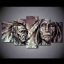 5 Pcs American Indians Portrait Wall Picture Home Decor Printed Canvas P... - $45.99+