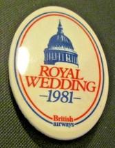 Vintage BRITISH AIRWAYS 1981 ROYAL WEDDING Button Pin - $9.99