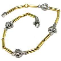 Bracelet or Blanc Jaune 18K 750, Tubes, Cœurs Ajourés, Longueur 17 CM - $361.98