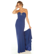 Sophisticated Sexy Strapless Beaded Royal Blue Evening Gown/Prom Dress J... - ₹17,901.56 INR