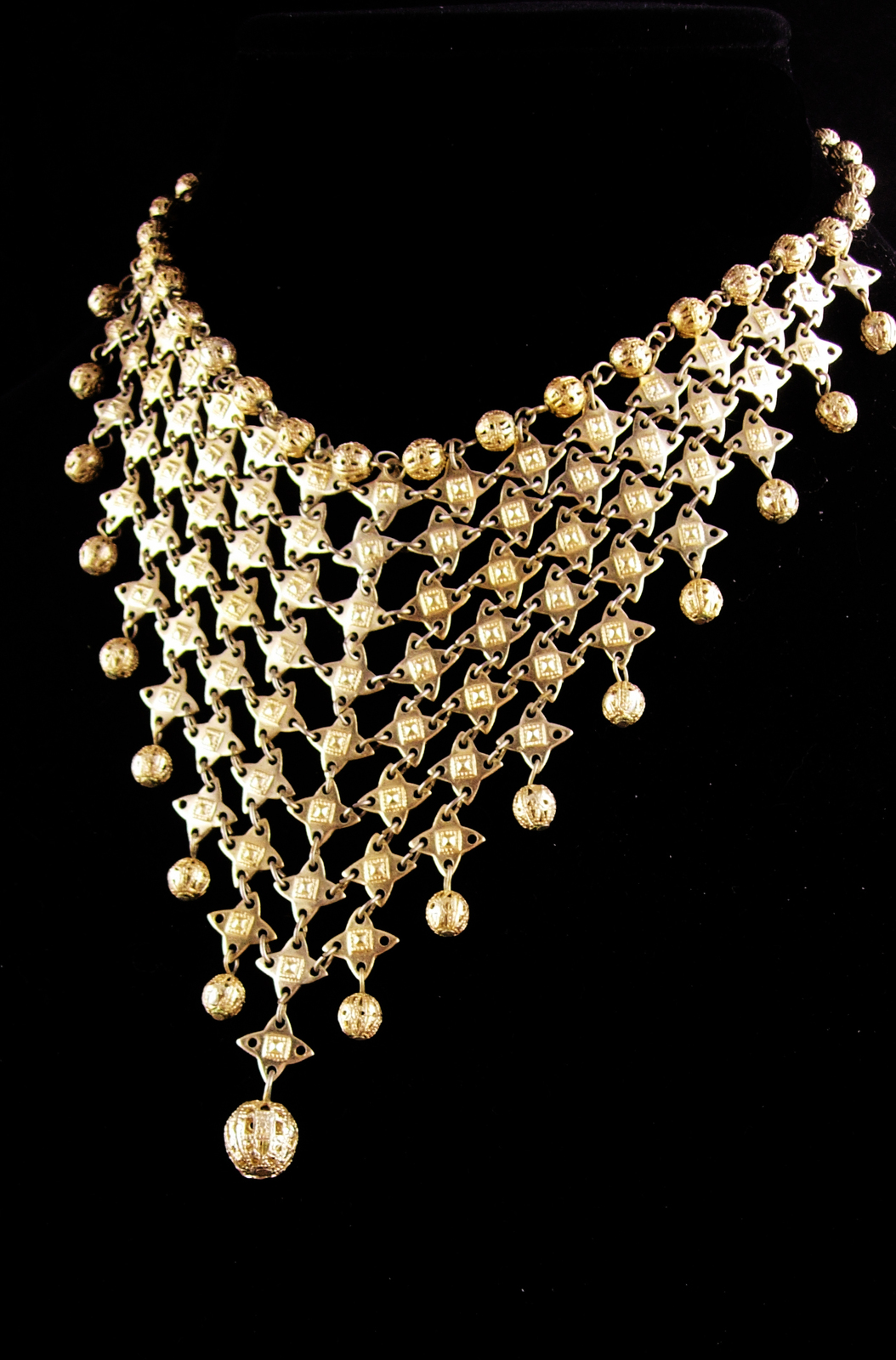 Vintage Cleopatra necklace - statement bib choker - exotic jewelry - egyptian re