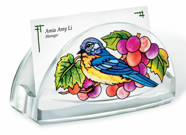 Grapevine Bluebird Business Card Holder Acrylic New Amia Grapes  - $16.82